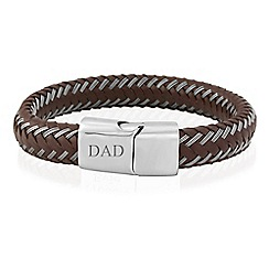 Precious Moments - Gents stainless steel brown leather 'Dad' bracelet