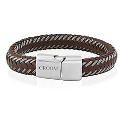 Precious Moments - Gents stainless steel brown leather 'Groom' bracelet
