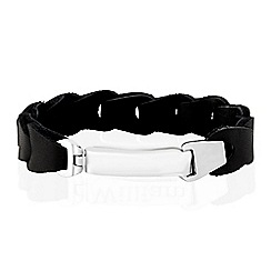 Precious Moments - Gents stainless steel black leather bracelet