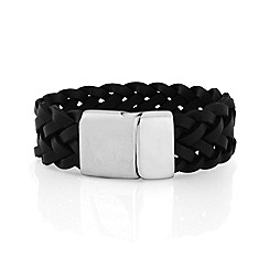 Precious Moments - Gents black leather stainless steel bracelet