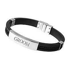Precious Moments - Stainless Steel  and Rubber Gents Bracelet 'GROOM'