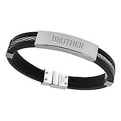 Precious Moments - Stainless Steel and Rubber Gents Bracelet 'BROTHER'