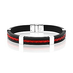 Precious Moments - Stainless Steel, Rubber and Leather Gents Bracelet