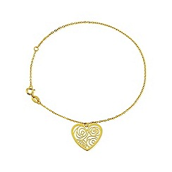 Love Story - 9ct Yellow Gold Ladies Heart Bracelet
