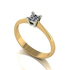 Love Story - 9ct gold 0.25ct diamond princess solitaire ring