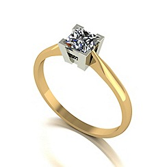 Love Story - 9ct gold 0.50ct diamond princess solitaire ring