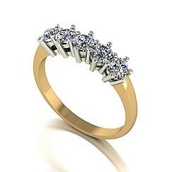 Love Story - 9ct gold 1ct diamond 5 stone ring