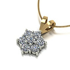 Love Story - 9ct gold 1ct diamond cluster pendant & chain
