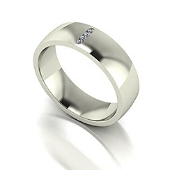 Love Story - 9ct white gold 6mm diamond set wedding band