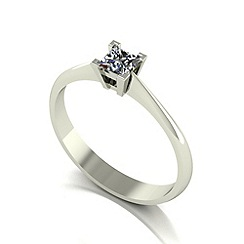 Love Story - 9ct white gold 0.25ct diamond princess cut ring