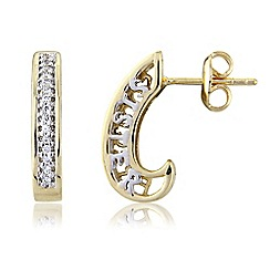 Precious Moments - Silver and gold plate finish 'Sister' earrings with cubic zirconia stone setting