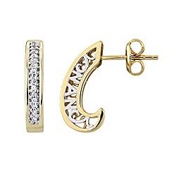 Precious Moments - Silver and gold plate, 'Nan' earrings with white cubic zirconia stone setting