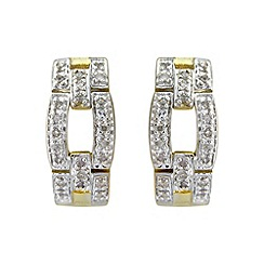 Love Story - Silver and 9ct gold plated diamond set earrings