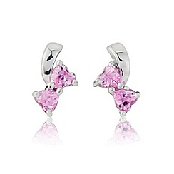 Love Story - Silver pink stone-set studs