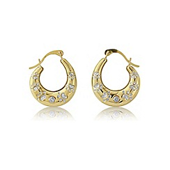 Pawprints - 9ct gold diamond set creoles by 'paw prints'