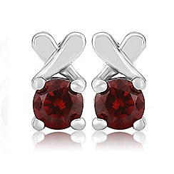 Precious Moments - Sterling silver red cubic zirconia 'kiss' earrings