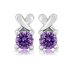 Precious Moments - Sterling silver purple cubic zirconia 'kiss' earrings
