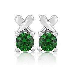 Precious Moments - Sterling silver dark green cubic zirconia 'kiss' earrings