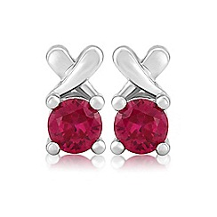 Precious Moments - Sterling silver created ruby 'kiss' earrings