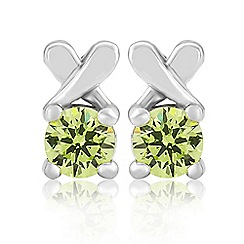 Precious Moments - Sterling silver green cubic zirconia 'kiss' earrings