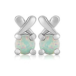 Precious Moments - Sterling silver created opal 'kiss' earrings