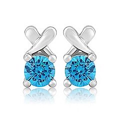 Precious Moments - Sterling silver blue cubic zirconia 'kiss' earrings