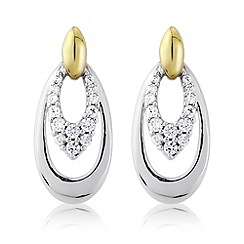 Love Story - Silver & 9ct gold stone set earrings