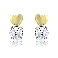 Love Story - 9ct gold and silver stud earrings
