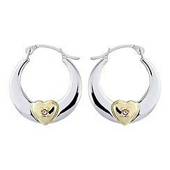 Love Story - Silver and 9ct gold creoles