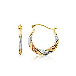 Love Story - 9ct gold tri-colour ladies creole earrings