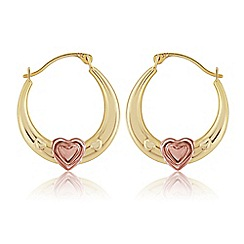 Love Story - 9ct Yellow And Rose Gold Creole Earrings