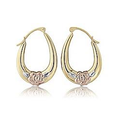 Love Story - Silver three tone creole earrings