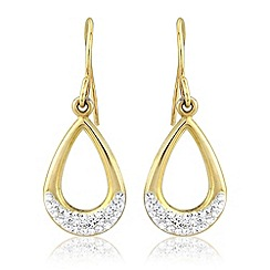 Love Story - 9ct gold and silver crystal earrings