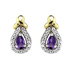Love Story - 9ct gold amethyst ladies earrings