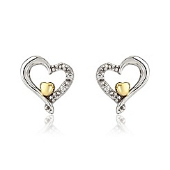 Love Story - Silver and 9ct gold stud earrings