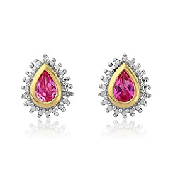 Love Story - Diamond & created pink sapphire stud earrings