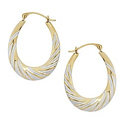 Love Story - 9ct gold ladies creole decorative earrings