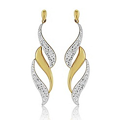 Love Story - 9ct Yellow Gold And Crystal Earrings