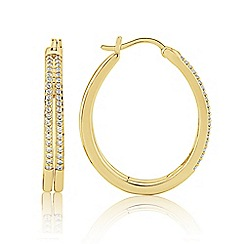 Love Story - 9ct Gold plated On Silver Stone-Set Hoops