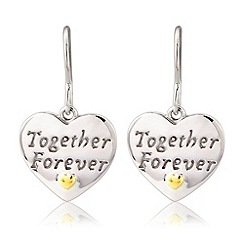 Precious Moments - Silver, 9ct gold plate 'together forever' earrings
