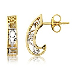 Precious Moments - Silver & 9ct gold plate 'Love' earrings