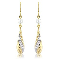 Love Story - 9ct gold & pearl drop earrings