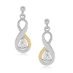 Love Story - sterling silver and 9ct gold cubic zirconia set earrings