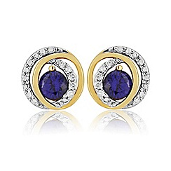 Love Story - 9ct Gold Plates on Silver Stone-Set Earrings