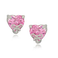 Precious Moments - sterling silver pink heart cubic zirconia ladies stud earrings