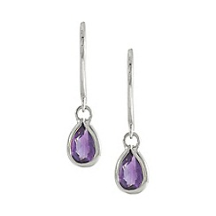 Precious Moments - 9ct White Gold Amethyst Ladies Earrings