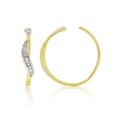 Precious Moments 9ct gold diamond set ladies hoop earrings