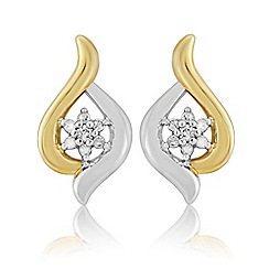 Love Story - Sterling Silver and 9ct Gold Plated Diamond Set Earrings