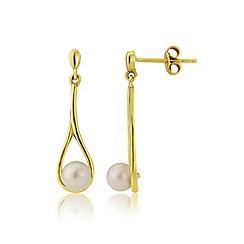 Love Story - 9ct gold ladies pearl dropper earrings