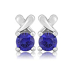 Precious Moments - Sterling silver created blue sapphire 'Kiss' earrings